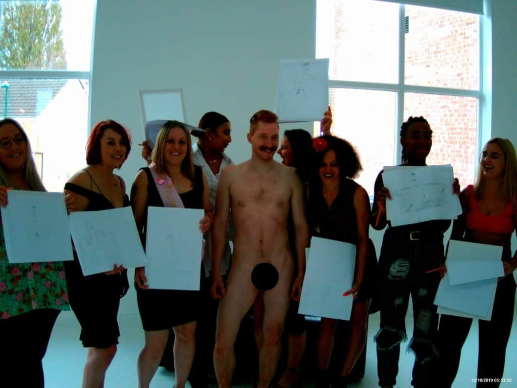 Hen party life drawing class with a hen party model