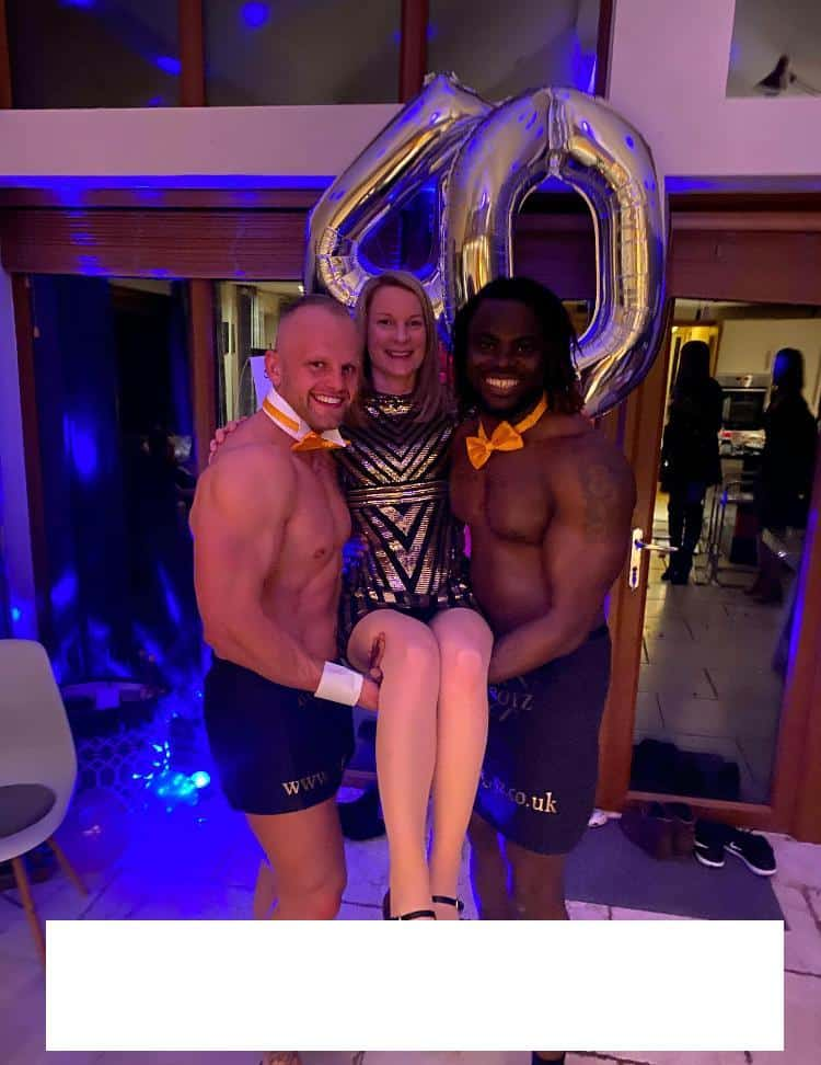 Naked butlers at a birthday event